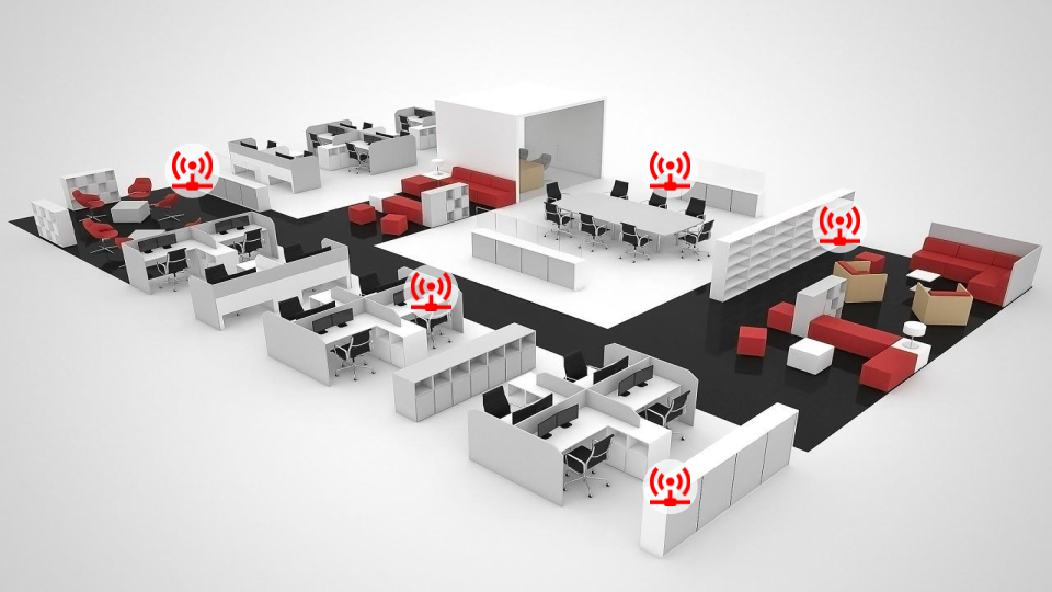 Rogue access point audit. An office with multiple concealed WiFi signals detected
